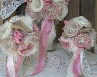 Burlap Bouquets, Bridesmaids Bouquet,Dusty rose bouquet, wedding flowers, fabric flower bouquets , wedding bouquet alternative