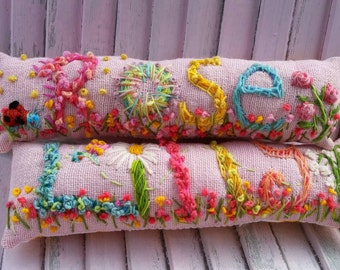 Nursery Decor Easter Basket Idea Freehand Embroidered Bohemian Letters Custom Name Pillow  Up To FIVE Letters
