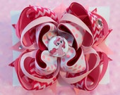 My little pony-Pinkie Pie : Large -layered Boutique style hair bow barrette