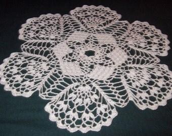 "Crochet Doily, 15"", Flourishing Fans"