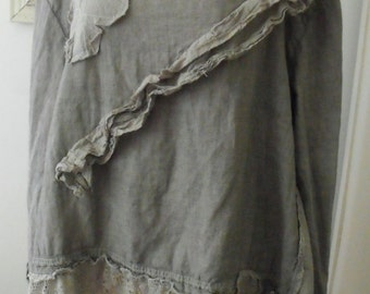 Plus Size Tunic/Hand Dyed Linen, muslin and Lace /Ruffles/Appliqued/Romantic