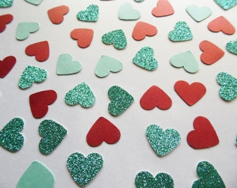 Turquoise Glitter Heart Confetti, Red Shimmer Hearts, Table Scatter, Wedding Reception Decor, Party Decoration, Bridal Shower Decor