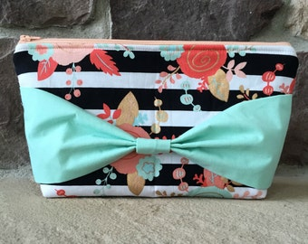 Striped Floral Bow Cosmetic Bag