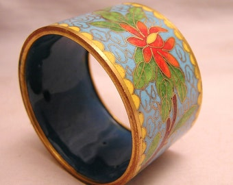 Vintage Flower Design Cloisonne Napkin Ring with Flowers and Butterfly Turquoise Background Red White Flowers Yellow Scalloped Edge (J15)