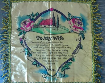 Vintage Fringed Sentimental Wife Pillow Cover..Satin Pillow Cover..To My Wife Sentiment..Husband to Wife Gift..Throw Pillow Cover