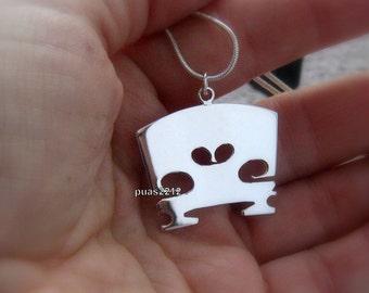 Sterling Silver Necklace violin bridge, musician, gift idea, Music Jewelry, music jewelry, cello bridge, pendant, gift idea