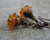 Harvest Blossom Flower Earrings with Lucite Flowers, Czech Glass, and Antique Brass