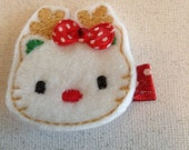 Embroidered Felt Reindeer Kitty Hair Clip, Girls Hair Bows, Toddlers Hair Clippies, Christmas Hair Bows, Christmas, Reindeer (Item 15-604)