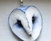 Shimmering Periwinkle Barn Owl Sculpture Pendant Necklace