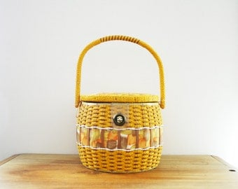 vintage 50s Mustard Yellow Wicker Woven & Fabric Large Barrel Shaped Sewing Notions Box Basket