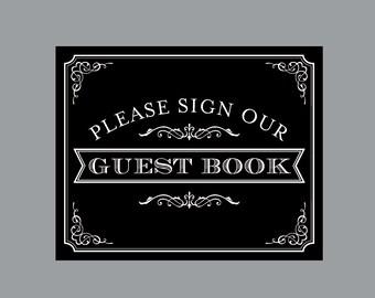 DIY Printable Guest Book Sign -  Vintage Antique Victorian Cottage Chic Rustic Chalkboard Wedding Reception Guest Book Banner Sign