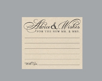 """Wedding Wish Cards - Vintage Victorian Antique Cottage Chic Rustic Wedding """"Advice & Wishes"""" Advice Cards - Guest Book Alternative"""