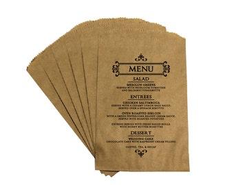 Rustic Wedding Menu Favor Bags - Vintage Victorian French Country Rustic Antique Wedding Menu Favor Bags Treat Bags Kraft Bags