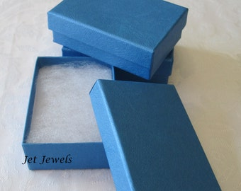 Gift Boxes, Blue Boxes, Kraft Boxes, Jewelry Gift Boxes, Favor Boxes, Boxes with Lids, Small Boxes, Cotton Filled 3 x 2 1/8 x 1 Pack of 10