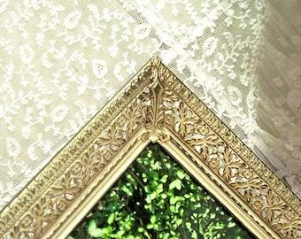 Vintage Picture Frame, Gold Metal Filigree Frame, Mid Century Ornate Frame, Wedding Photo, Wall Decor