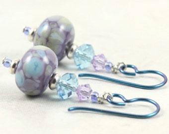 Multicolor Lampwork Earrings in Lavender and Aquamarine Crystal Aqua Niobium Ear Wires Hypoallergenic Earrings Dangle Fall Jewelry