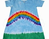 Rainbow Dress for Girls in Light Blue and Vibrant Rainbow Tie Dye