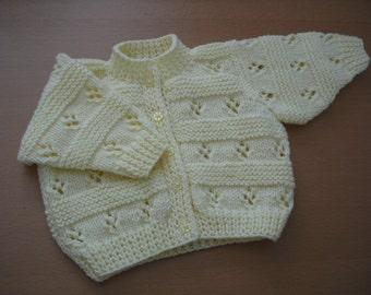 Block Geometric Pattern Long Sleeve Baby Girl Cardigan in Lemon - Handknitted Babywear