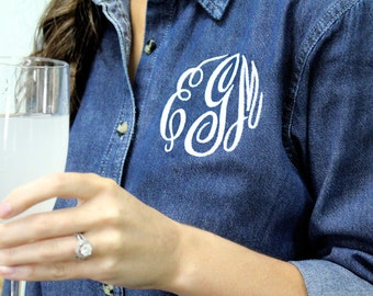 Monogrammed Denim Shirt - Ladies Denim Button Down Shirt, Gift for Her, Christmas Gift, Personalized Denim Shirt