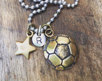 New Sterling Silver Soccer Custom Hand Stamped Initial Necklace