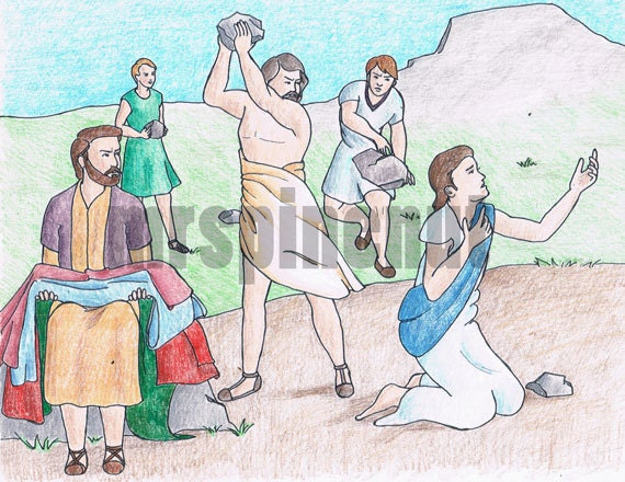 Stoning Of Stephen Book Of Acts Bible Colouring Page