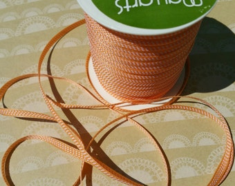 "Orange White Center Stitch Trim - May Arts Ribbons - 1/8"" Wide - 59 Yards - LAST OF SPOOL - Destash Sale"