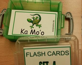 FLASH CARDS (SET 4)- 'Olelo Hawai'i / English -  80 cards plus storage box