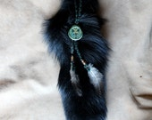 Real black-dyed fox fur tail hair charm clip with fox pendant, glass beads and rooster feathers for costuming, ritual, dance and more
