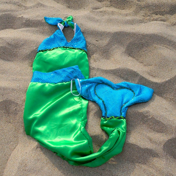 Mermaid Costume in Green with Blue