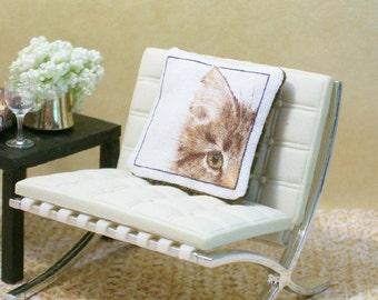 Tiger Cat Pillow Kitty Golden Eyed 1:12 Dollhouse Miniature Artisan