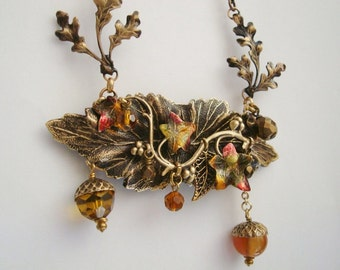 Autumn's Beautiful Bounty Necklace, Colorful Leaves and Falling Acorns, Original Design, Hand Built, USA, Custom Metal Work, Dangling Jewels
