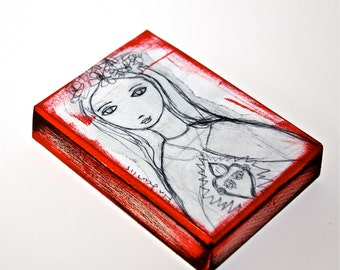 Sacred Love - ACEO Giclee print reproduction mounted on Wood (2.5 x 3.5 inches) Folk Art  by FLOR LARIOS