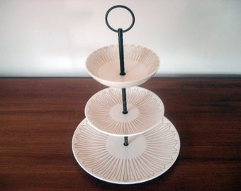 Three tier serving dish for small snacks, desserts or fruit