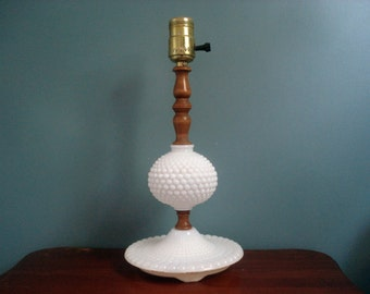 Vintage milk glass and wood lamp