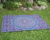 Mandala Tapestry Picnic Blanket in Camel & Peacock Print, Stake Down Design