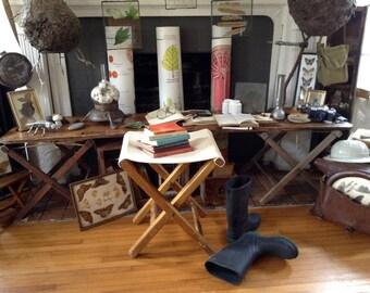Vintage Wood Cloth Folding Camp Stool