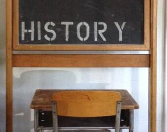 Vintage Industrial Metal and Wood Student Desk & Chair School Set