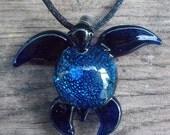 Hand Blown Cobalt Blue Dichroic Glass Sea Turtle Pendant, Necklace, Focal Bead