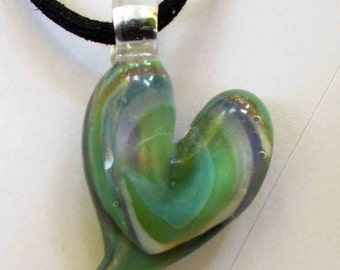 Hand Blown Glass Heart Pendant, Necklace, Focal Bead, One of a Kind, Jewelry