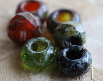ROLLER MEDLEY .. 6 Premium Picasso Czech Glass Large Hole Roller Beads 8x13mm (4676-6)