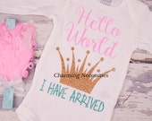 Baby Girl Coming Home Newborn Outfit Hello World by Charming Necessities, Boutique Clothing Sparkle Glitter Shirt Baby Shower Gift