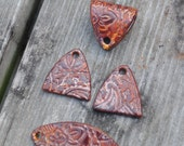 4 piece set pottery bead in Copper Brown. The Almendra, ceramic beads