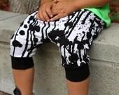 Baby Boy Baby Girl Black and White Drip Drop, Paint Splatter Print Harem Shorts: Etsy kid's fashion, toddler boy toddler girl