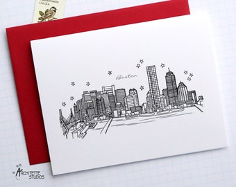 Boston, Massachusetts - United States - City Skyline Series - Folded Cards (6)
