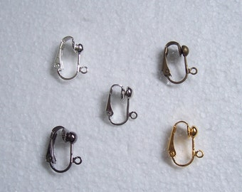 5 or 10 pairs clip-on earring findings - silver, gold, bronze, gunmetal, antique silver