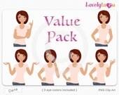 Character value pack, woman avatar digital PNG clipart (Dana VP04)