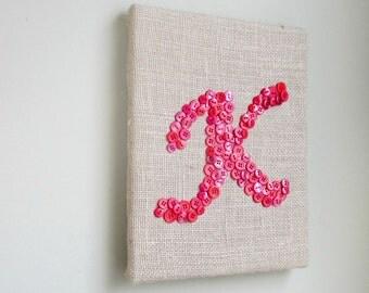 Button Letter, Nursery Art, Button Art, 9x12 Canvas, Children Wall Art, Baby Wall Art,