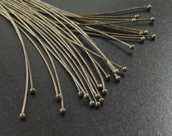 Ball Headpins 100 Ball Pins Antique Bronze 2.75 inch (70mm) 21 gauge (1034pin70z1)