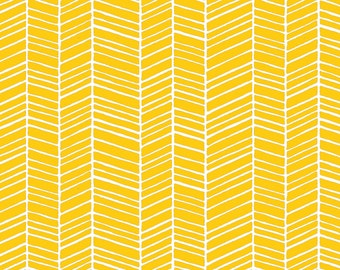 Joel Dewberry Fabric by the Yard - True Colors - Herringbone in Yellow - Quilter's Cotton