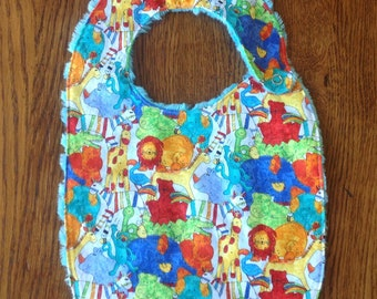 Primary Color Jungle Animals Minky Baby/Toddler Bib